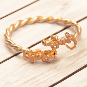 vintage gold tone crocodile alligator bracelet